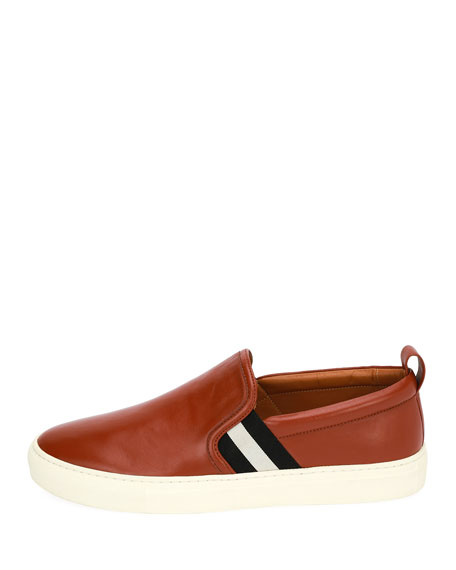 Herald Leather Slip-On Sneaker, Brick