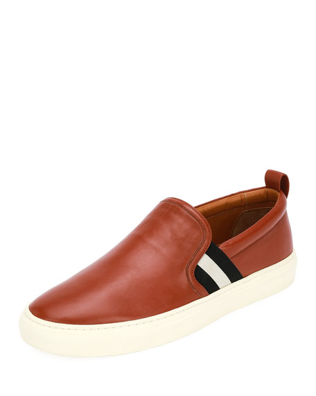 Bally Herald Leather Slip-On Sneaker, Brick