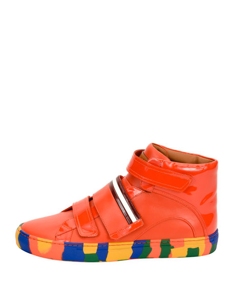 Herick Leather High-Top Sneaker, Orange