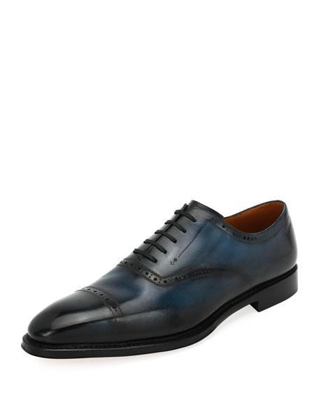 Bally Skimor Leather Cap Toe Dress Shoes
