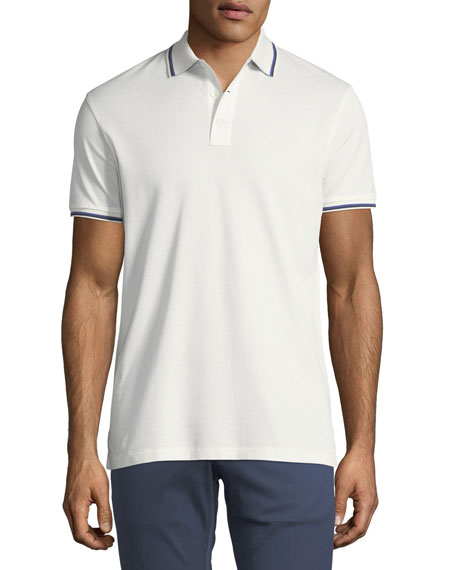 Tipped-Trim Piqué Polo Shirt, White
