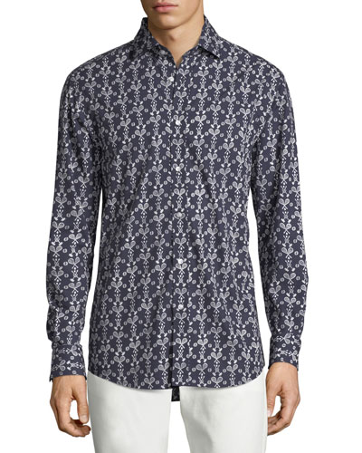 Tennis Croquet-Print Sport Shirt