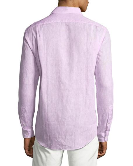 Solid Linen Sport Shirt, Pink