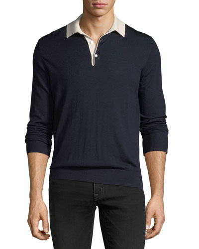 Contrast-Collar Wool Sweater