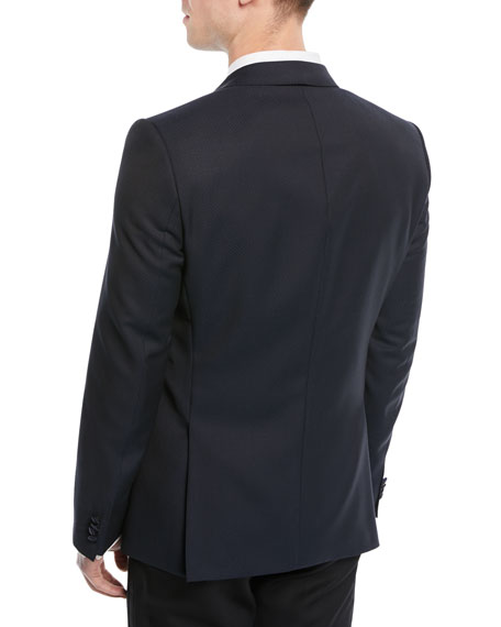 Satin-Lapel Dot-Jacquard Dinner Jacket
