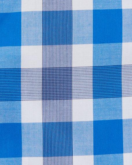 Jason Slim Fit Easy Iron Large-Plaid Cotton Dress Shirt, Medium Blue