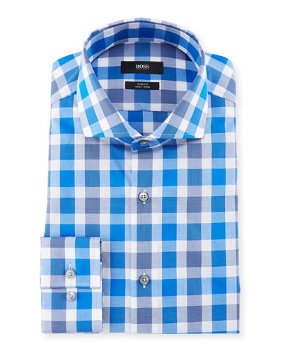 Slim Fit Easy Iron Large-Plaid Cotton Dress Shirt, Medium Blue
