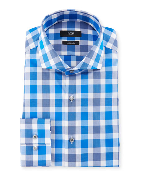 BOSS Slim Fit Easy Iron Large-Plaid Cotton Dress