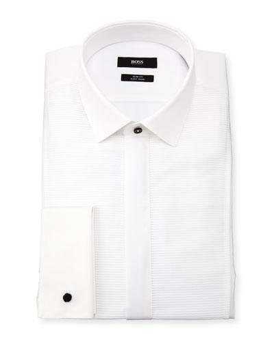 Slim Fit Easy Iron Horizontal Striped-Bib Dress Shirt