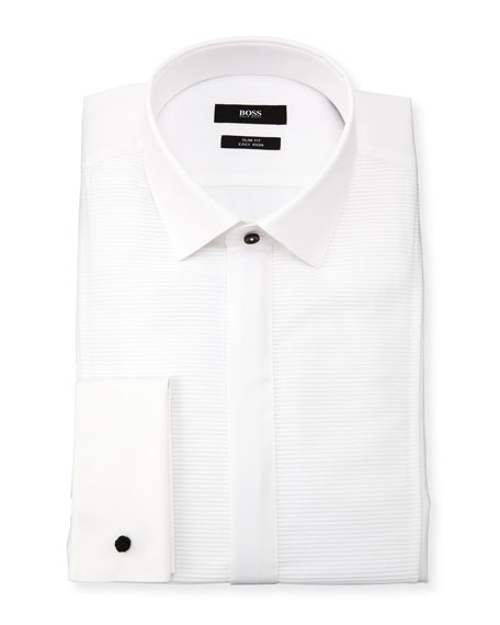 Jarome Slim-Fit Easy Iron Horizontal Striped-Bib Dress Shirt
