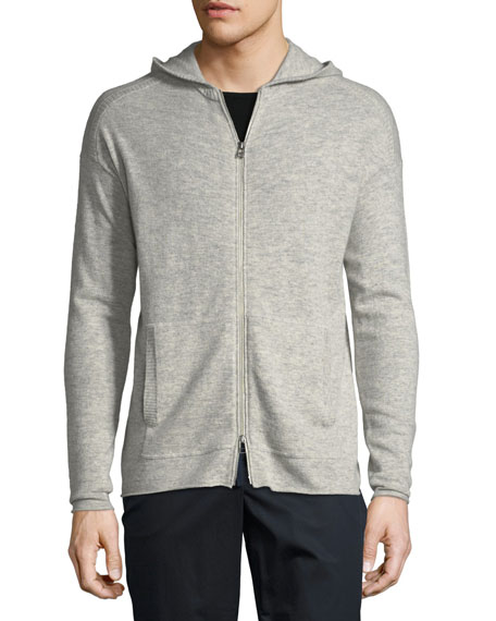 Wool/Cashmere Zip-Front Hoodie