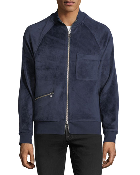 Velour Zip-Up Bomber Jacket