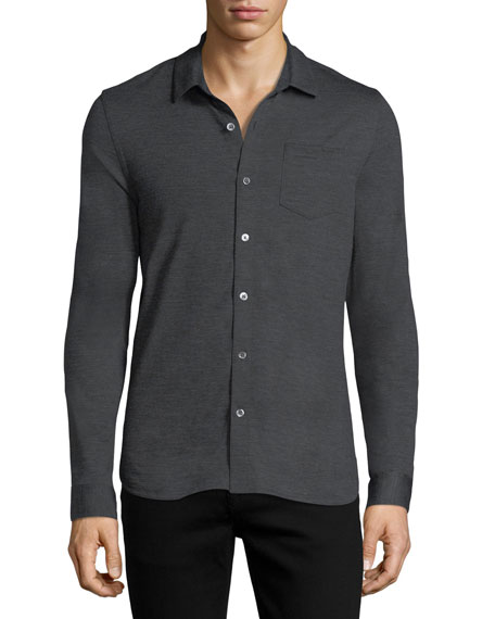 Michael Kors Wool Button-Front Shirt