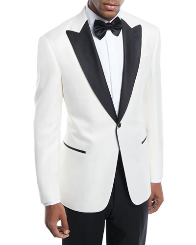 Satin-Lapel Textured Dinner Jacket