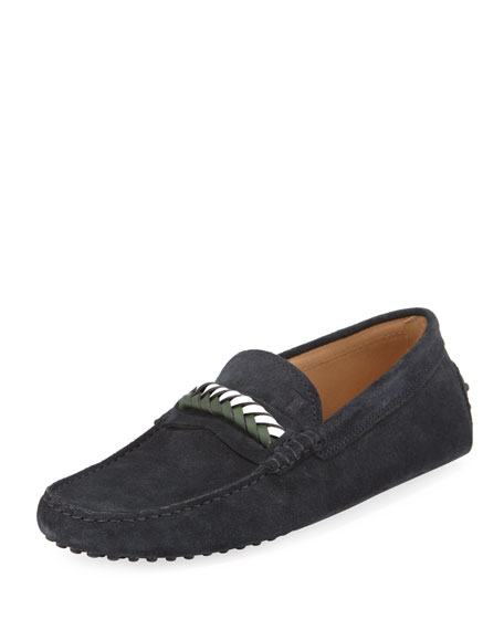 Tod's Braided-Vamp Suede Driver, Navy