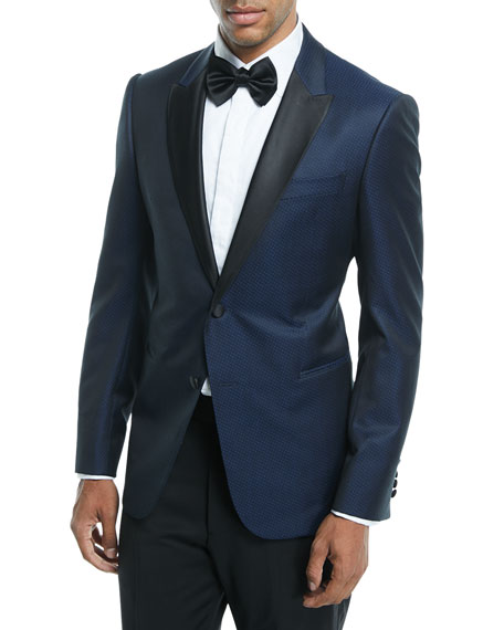 Emporio Armani Satin-Lapel Dot-Textured Dinner Jacket