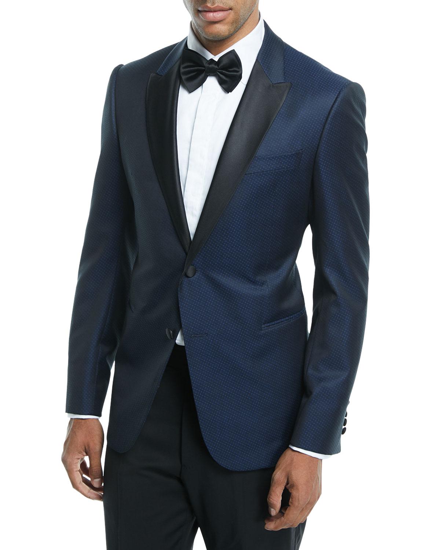 0a771763 Satin-Lapel Dot-Textured Dinner Jacket