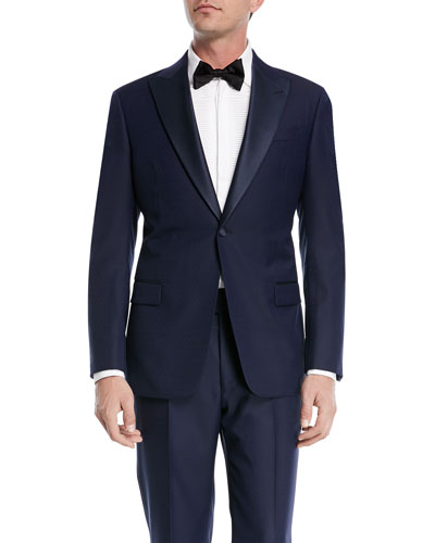 Textured Two-Piece Tuxedo with Satin Peak Lapel