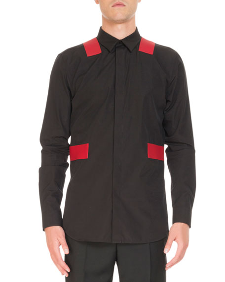 Contrast-Panel Long-Sleeve Shirt