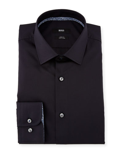 Contrast-Trim Solid Dress Shirt