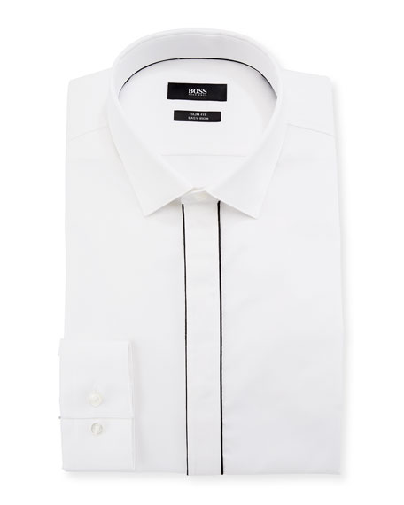BOSS Jamir Slim Fit Easy Iron Contrast-Piping Cotton