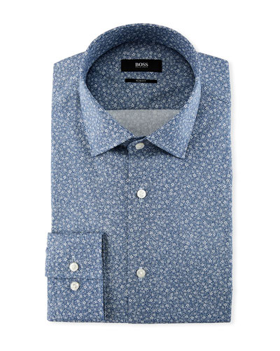Jenno Floral-Print Slim-Fit Dress Shirt