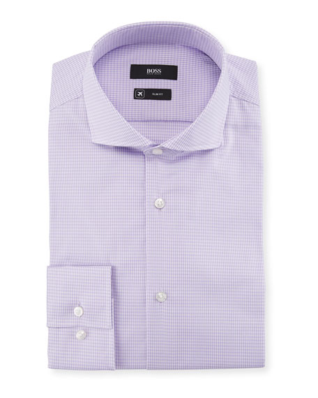 BOSS Jason Slim Fit Gingham Cotton-Blend Dress Shirt
