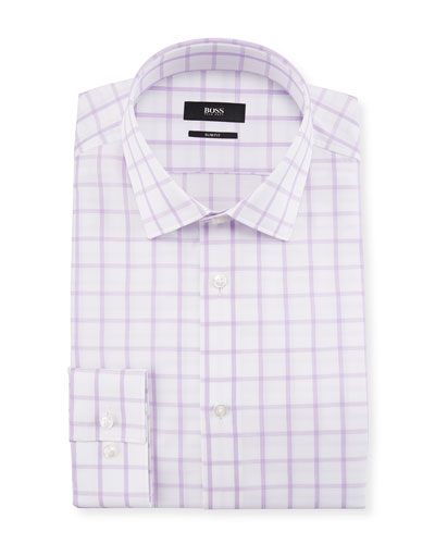 Ismo Slim Fit Textured Windowpane Cotton Dress Shirt