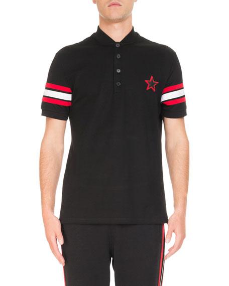 Givenchy Banded-Cuff Logo-Print Polo Shirt