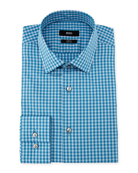 BOSS Jenno Slim Fit Gingham Dress Shirt, Aqua/Blue