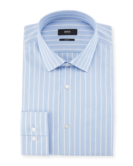 Jenno Slim Fit Textured Stripe Dress Shirt