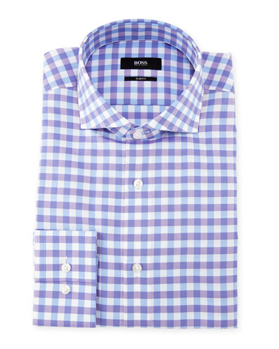 Gingham Dress Shirt, Purple