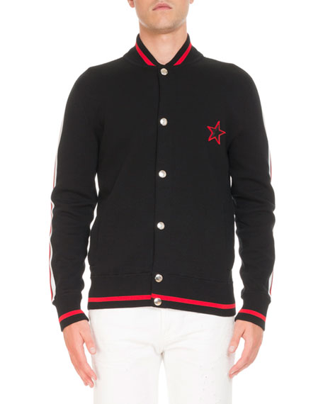 Givenchy Logo-Back Knit Bomber Jacket