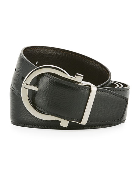 Men's Stamped Leather Gancio Buckle Belt
