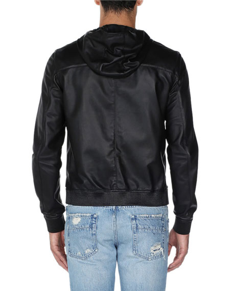Embossed Logo Hooded Leather Jacket