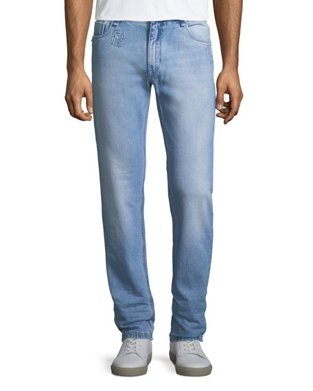 Fendi Logo-Patch Slim-Leg Jeans
