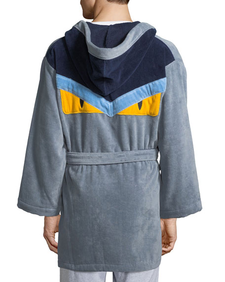 Fendi Monster Hooded Robe, Gray/Blue