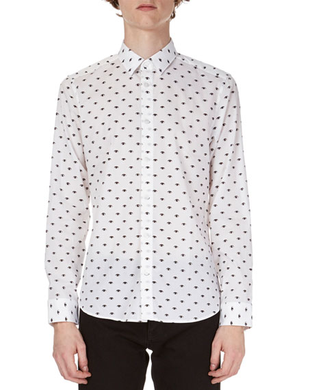 Allover Eyes-Print Slim-Fit Shirt