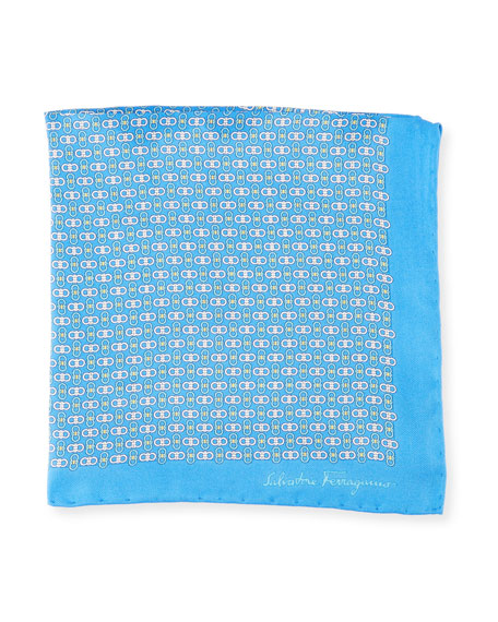 Solid Border Gancini Silk Pocket Square