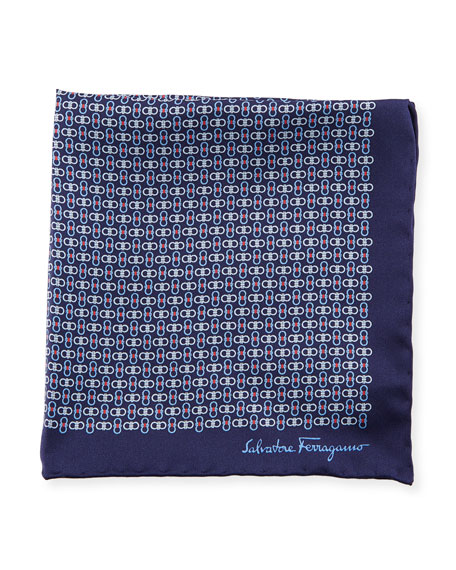 Solid-Border Gancini Silk Pocket Square, Blue