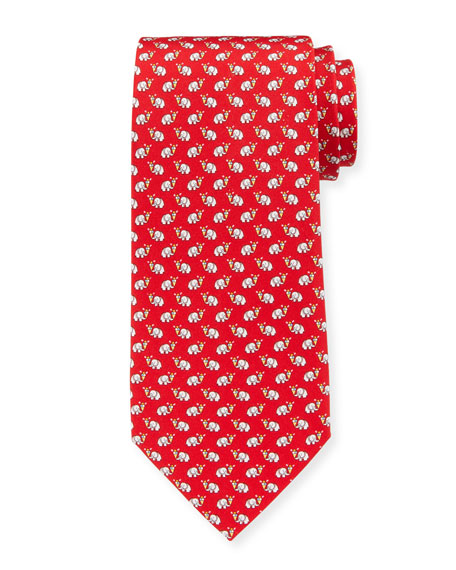 Elephants with Ice Cream Silk Tie, Red