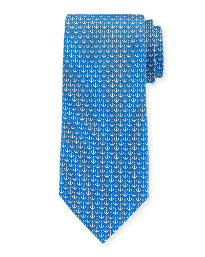 Anchors Silk Tie, Blue
