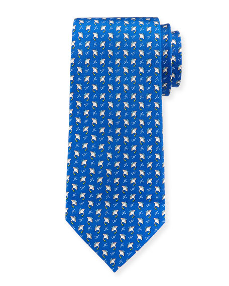 Stingrays Silk Tie, Blue
