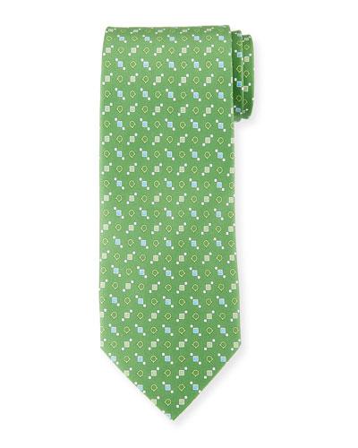 Gancini and Box Silk Tie