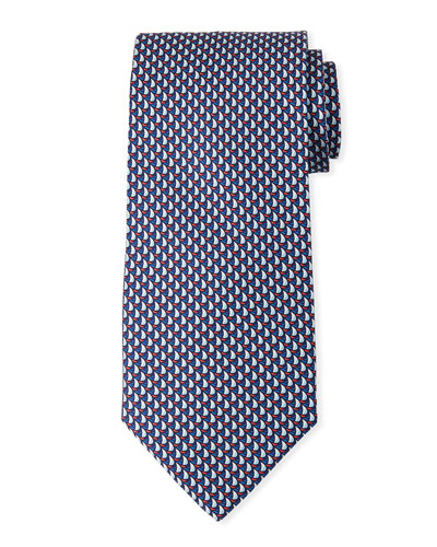 Sailboats Silk Tie, Navy Blue