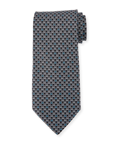 Salvatore Ferragamo Interlocking Gancini Silk Tie, Black