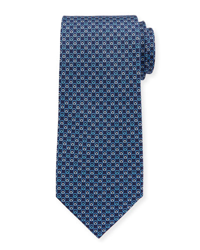 Interlocking Gancini Silk Tie, Dark Blue