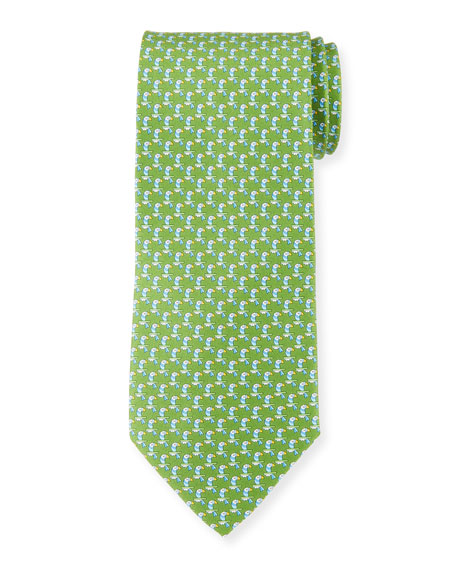 Salvatore Ferragamo Parrot Silk Tie, Green