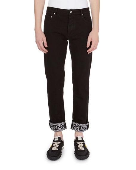 Kenzo Logo-Trim Straight-Leg Jeans