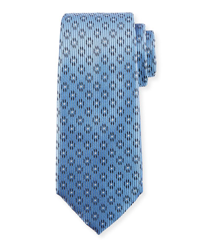Dashed Striped Silk Tie, Blue